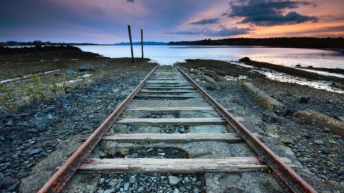 ABSTRACT RAILWAY TRAIN TRACKS CANVAS PICTURE PRINT WALL ART #5616