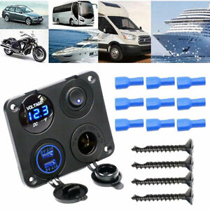4-in-1-Car-Boat-Voltmeter-Cigarete-Lighter-Socket-Dual-USB-Charger-Switch-Panel