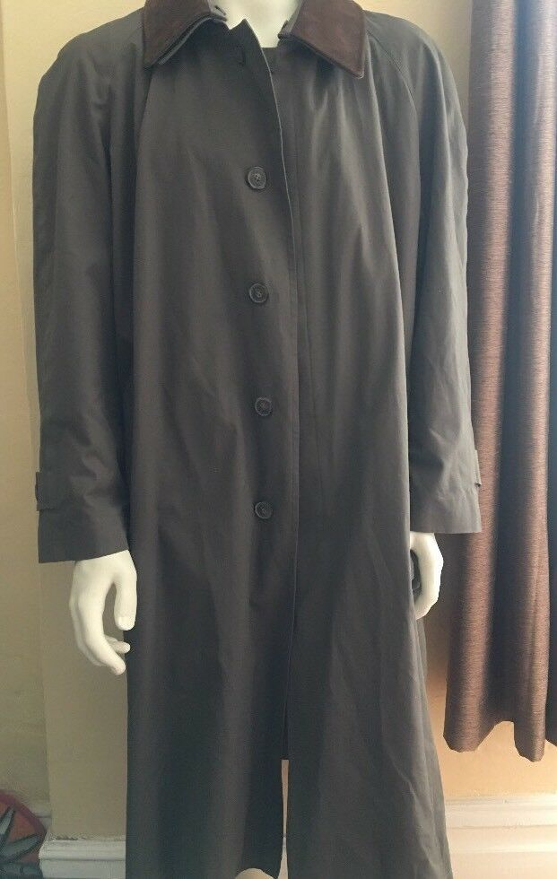 Jos Joseph A Bank Leder Collar Rain Trench Coat Topcoat Rmvble Lining 475 42R