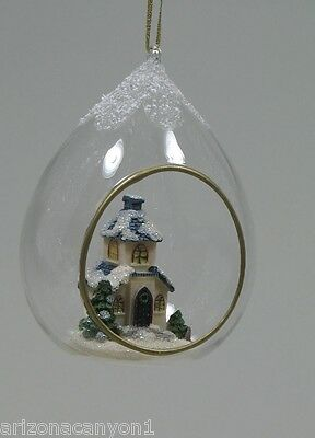 Ganz Church In Glass Ball With Snow Covered Church Hanging Ornament New Ebay