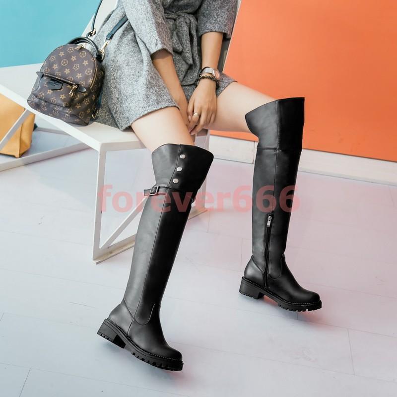 Gr.32-52 Damen Stiefel Overkneestiefel Block Absatz Damenschuhe