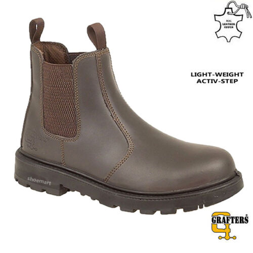 MENS DEALER CHELSEA LIGHT-WEIGHT LEATHER SAFETY WORK BOOTS STEEL TOE CAP SHOES