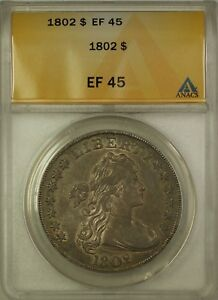 1802 Draped Bust Silver Dollar $1 Coin ANACS EF-45