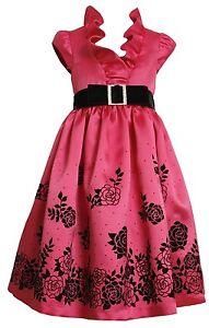 Bonnie-Jean-Girls-4-6x-Fuschia-Pink-Flocked-Border-Party-Dress-6X