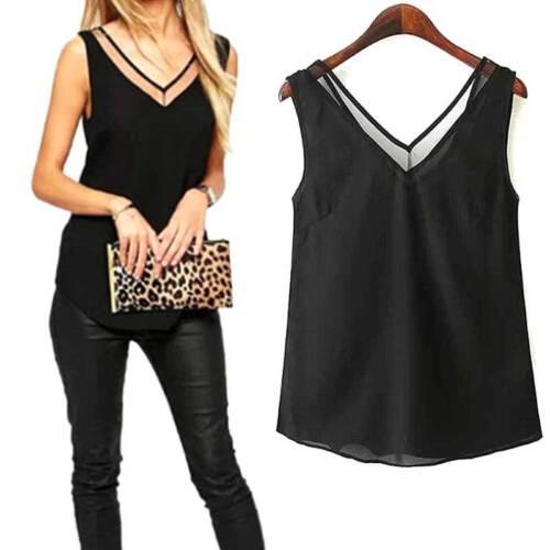 New Chiffon Slim Loose V-Neck Sleeveless Vest Shirt Blouse Tops For Women Girls