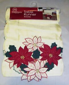 Poinsettia-Christmas-Holiday-Party-Decor-Cloth-Cover-White-Table-Runner-13-034-X70-034