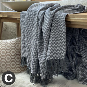 Luxury-100-Cotton-Dark-Grey-Herringbone-Sofa-Chair-Throw-Blanket-Fringed