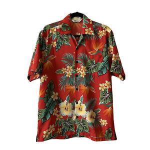 Alvish-Mens-Hawaiian-Button-Down-Shirt-Vibrant-Red-Sz-M-Floral-Print-Pocket-b09