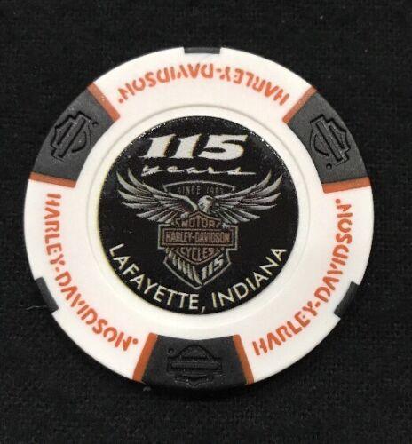 // White /& Black Indiana Hunters Moon Harley Poker Chip 115th Anniv Lafayette