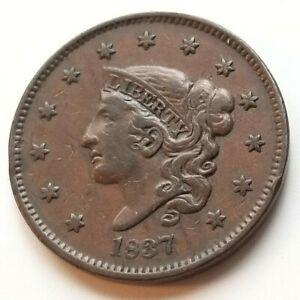 1837 CORONET HEAD LARGE CENT BEAUTIFUL VERY FINE+ NICE COIN!