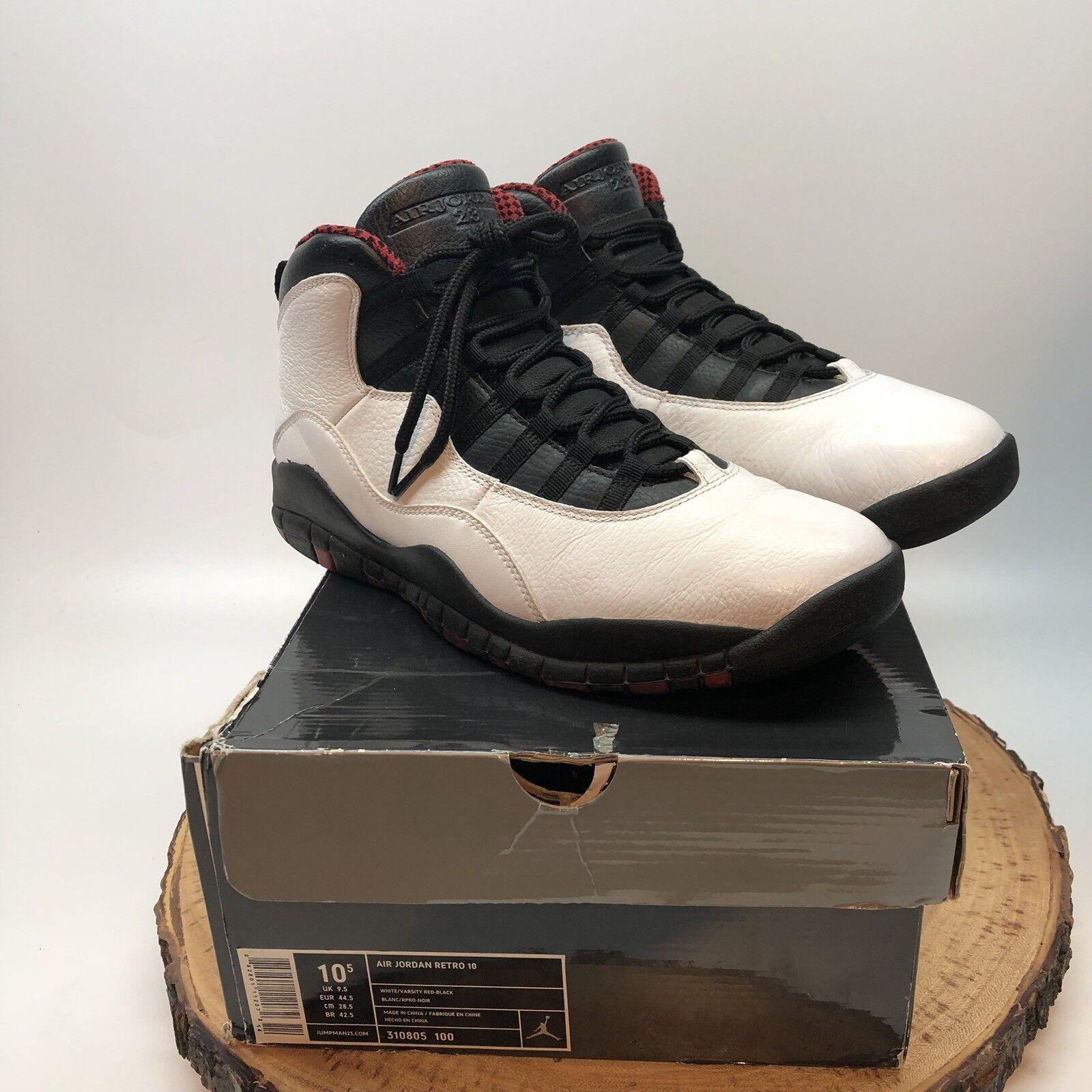 Nike air jordan retro - x chicago bulls weiße weiße bulls schwarz - rot - 310805 100 sz 10,5 xi - xii 1e56d7