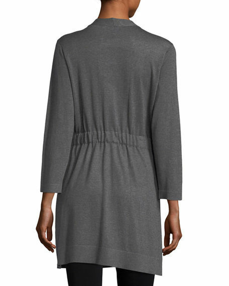 Eileen Fisher Tencel Cotton Silk Simple Cardigan Cardigan Cardigan w  Tie Waist, Ash, PL, NWT 5ed8ef