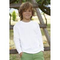 Fruit Of The Loom Kids Long Sleeve T-Shirt Plain Boys Girls Childrens School Lot