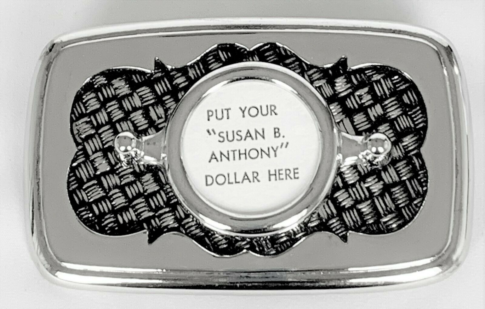 BELT BUCKLES Susan B Anthony Dollar Coin Silver Black Rectangle Screw Mount NWOT