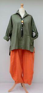 khaki Baumwolle aus bis Übergroßes Hemd Lagenlook 46 Tunika Pinguin Büste vnUxfY