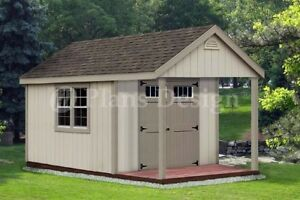 14 X 10 Cabin Loft Backyard Shed With Porch Plans