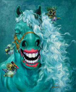 Details About Signed Hand Painted Horse Oil Painting Modern Colorful Animal Art Deco 20x24