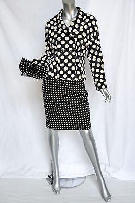 YVES SAINT LAURENT Black+White POLKA DOT Skirt Suit+Jacket+Bag 3-PC 38 *VINTAGE