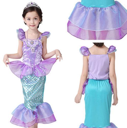 UK Little Mermaid Children Kids Girls Outfits Dress Up Costume Princess Dresses