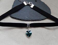 Terciopelo Negro 9mm Collar Gargantilla Verde Esmeralda Corazón De Cristal Fiesta/gótico UK