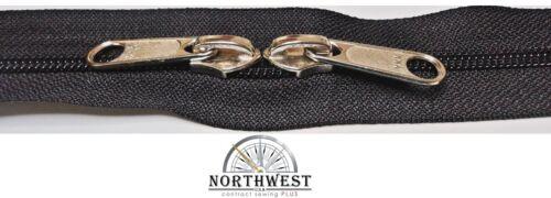 YKK Nylon Coil Zipper Tape # 8 Black 20 yards with 40 Nickle Zipper Sliders