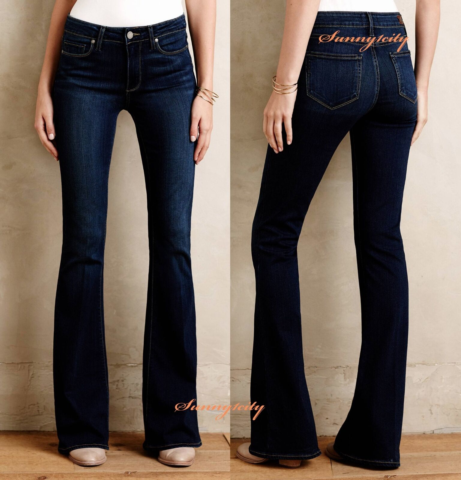 NWT 26 Anthropologie Paige High-Rise Bell Canyon Flare Jeans by Paige 5 Star REV