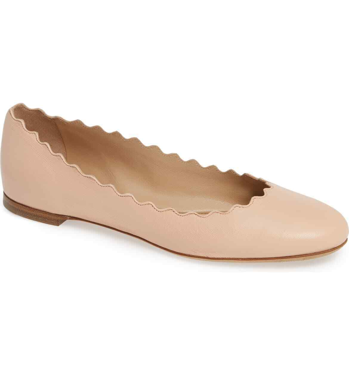 CHLOE Lauren' Scalloped Ballet Flat Size 40.5