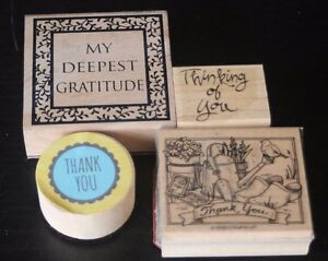 Mixed Lot of 4 Rubber Stamps for Thank You + Thinking of You Cards