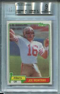 1981-Topps-Football-216-Joe-Montana-49ers-Rookie-Card-RC-Graded-BGS-Mint-9-w-9-5
