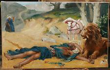 Tableau Ancien Le bon Samaritain GUSTAVE COURTOIS XIXe Élève GÉROME Lion Cheval