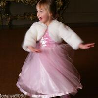 Girls Kids Cream White Faux Fur Shrug Cape Shawl Bolero Wedding Flowergirl Dress