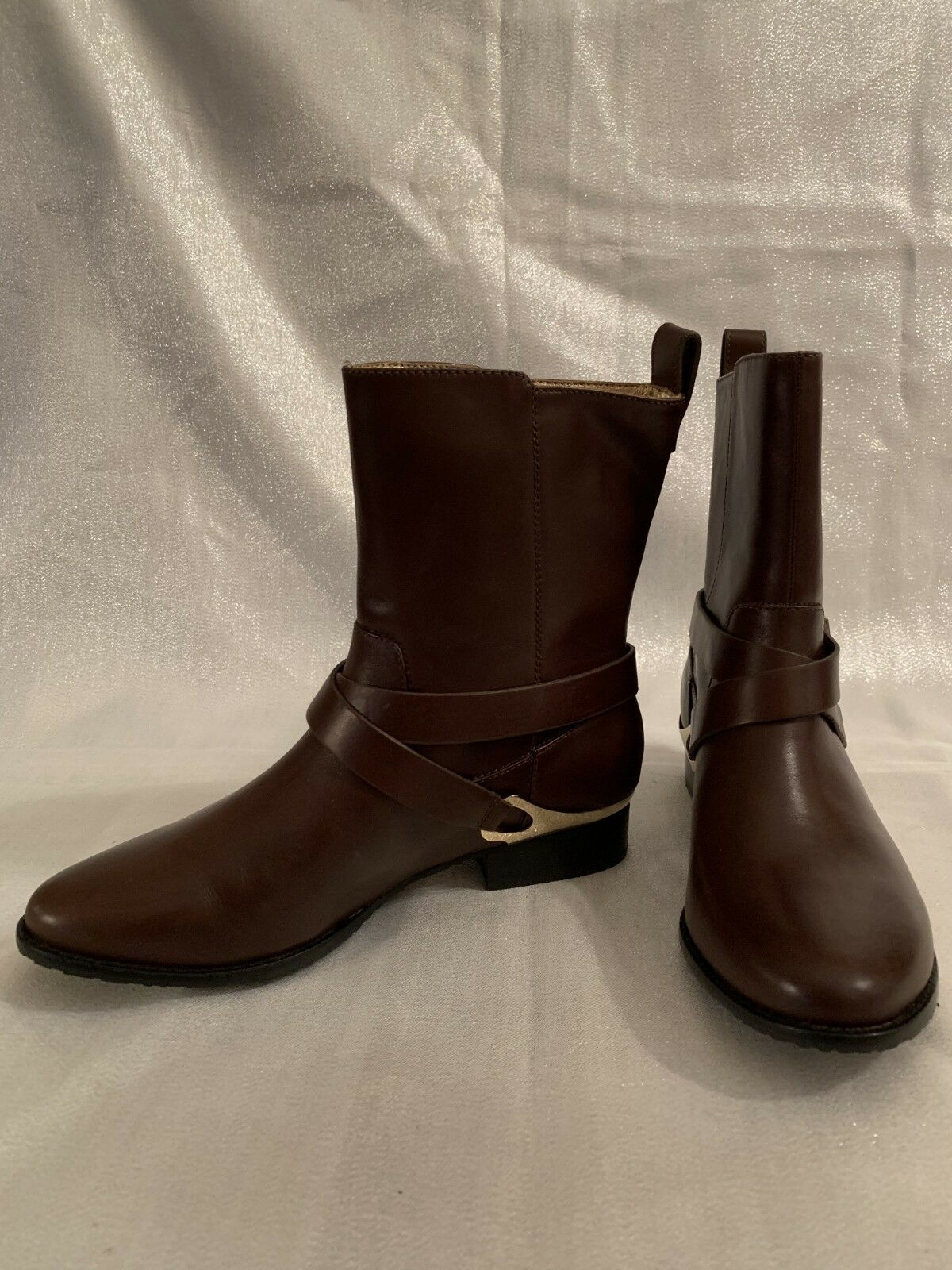 ELAINE TURNER WOMEN'S BROWN ANKLE BOOTS WITH METAL TRIM SIZE 6