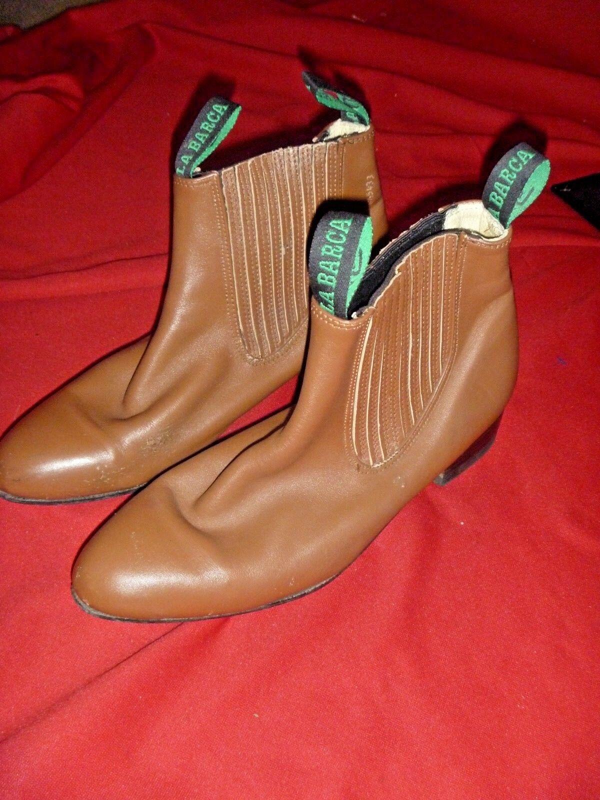 LA BARCA Camel Cuero Occidental botas Zapatos para hombre lados estiramiento 10.5