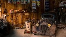 "Poster 24"" x 36"" Old Car in Old Repair Shop"