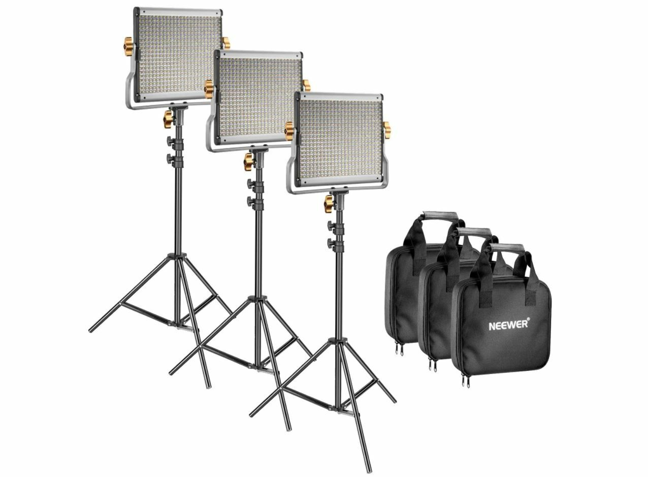 Neewer 3 Packs Dimmable Bi-color 480 LED Video Light and Stand Lighting Kit