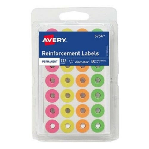 avery labels assorted neon reinforcement label rounds 924ct avery