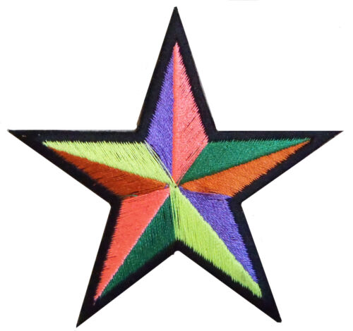 Patch écusson patche étoile multicolore star hotfix DIY brodé