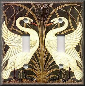 Metal Light Switch Plate Cover Art Nouveau Swans Decor Vintage Home