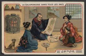 1900-1906-France-Advertising-Postcard-LA-SALAMANDRE-STOVE-HEATER-Japanese-Motif