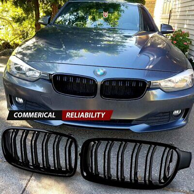 For 2012-2017 BMW F30 F31 328i 335i Sedan Gloss Black Front Kidney Grill Grille