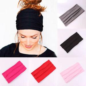 7dbe7c137a1475 Das Bild wird geladen Damen-Elastischer-Stretch-Breit-Haarband-Yoga- Stirnband-Turban-