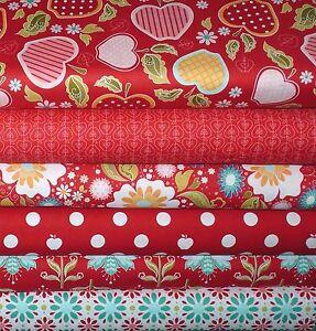 13-93-m-Stoffpaket-Apfel-Rot-Patchworkstoffe-Patchwork-Stoffe-Reste-Baumwolle