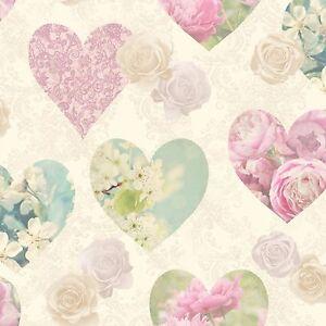 novedad-multicolor-Floral-Corazones-Papel-pintado-Encaje-Vintage-Rosas-fd41912