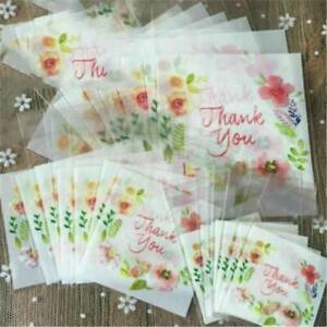 100Pcs Plastic Thank You Flower Cookie Package Candy Floral Bag Self-Adhesive
