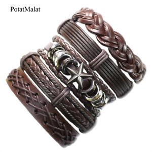 5Pcs-lot-Handmade-Genuine-Leather-Bracelets-Men-Alloy-Braided-Cuff-Wristband-F97
