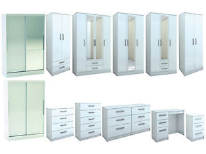 Lynx-All-White-Gloss-Bedroom-Furniture-Wardrobe-Chest-by-Birlea-Large-Sizes