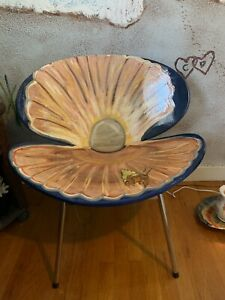 Vintage-Furniture-Art-Ooak-Resin-Protected-Handpainted-Clam-Chair-Signed-Djh