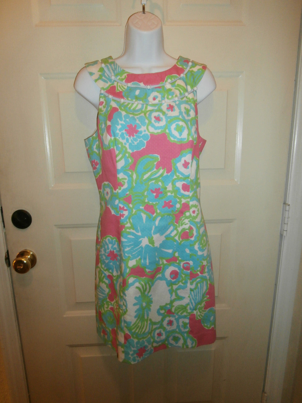 NEW LILLY PULITZER Pink A Delicacy Print Lindy Beaded Shift dress 4 SMALL