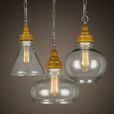 Set Moder Retro Wood Base  Vintage Pendant Ceiling Chandeliers Light Lamp