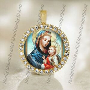 Our-Blessed-Mother-Virgin-Mary-and-Baby-Jesus-Christian-Catholic-Gold-Tone-Medal